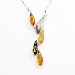Collier en argent et ambre multicouleur vert, citron et miel