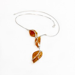 Amber necklace honey and silver 925/1000