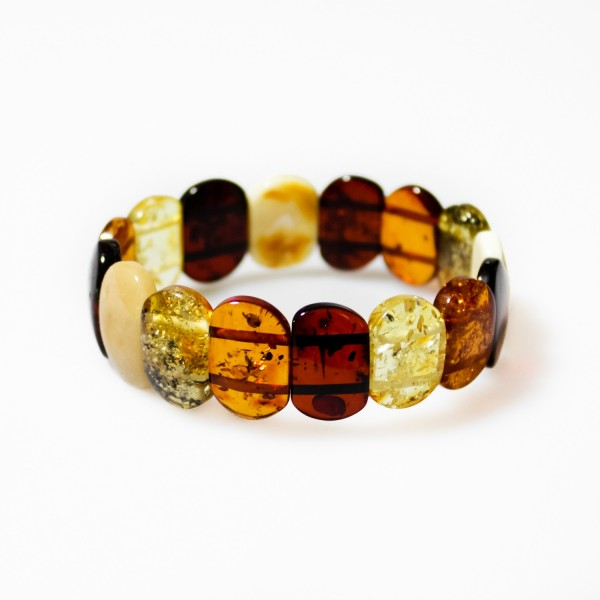 Bracelet d'ambre naturel multi-couleur