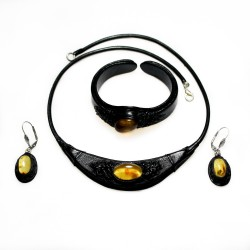 Set of honey amber and black leather