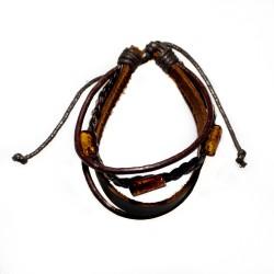 Bracelet ambre et cuir marron