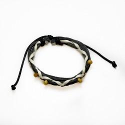 Bracelet ambre royal et cuir bi-couleur noir et blanc