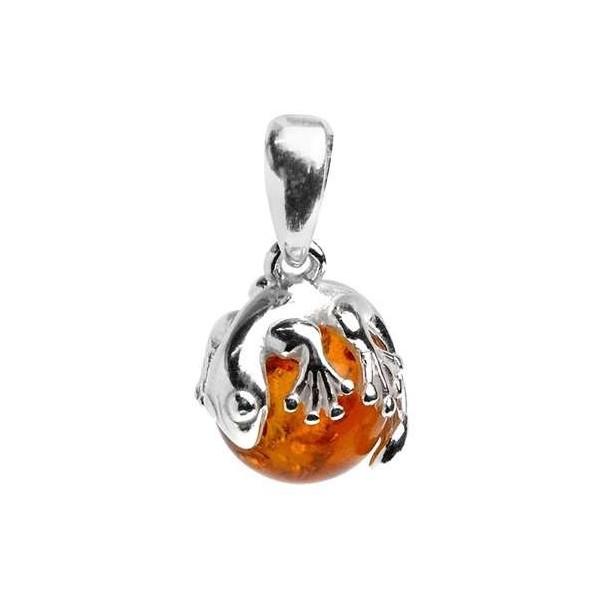 Pendentif en argent et perle d'ambre surmonté d'une salamandre