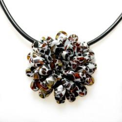 mosaico del collar / broche de la flor ámbar