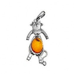 Cow pendant in silver and amber pearl