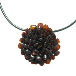Necklace / Brooch Amber flower natural color cognac