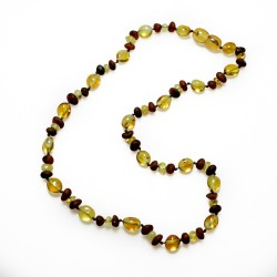 Raw and polished amber necklace with baroque and olive amber