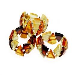 Multicolor triangle Amber ring