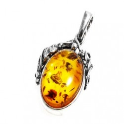 Silver Pendant and Honey Amber Cabochon