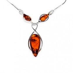 collar de perlas de ámbar y plata Infinity