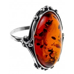 Big-Silber-Ring und Bernstein Honig