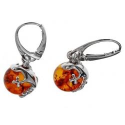 Silber-Ohrringe und Bernstein Perle gekrönt mit einem Salamander