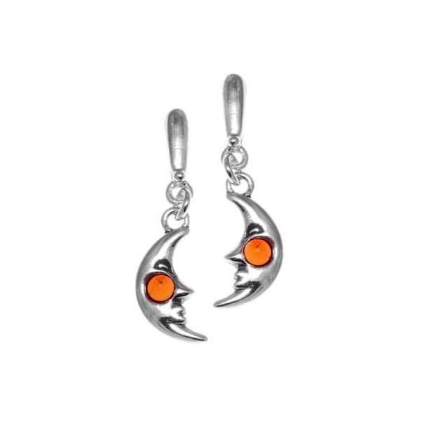 Boucle d'oreille demi-lune Argent et perle d'Ambre