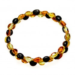 Acordeon bracelet 2 turns and multicolored amber