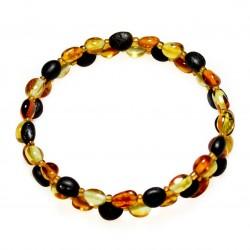 Bracelet Acordeon 2 tours et ambre multicouleur