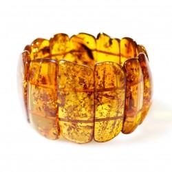 Gros bracelet d'ambre naturel couleur cognac