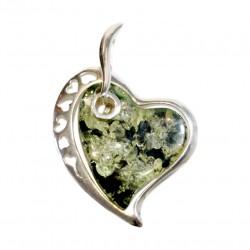Pendentif en argent 925/1000 et ambre vert en forme de coeur