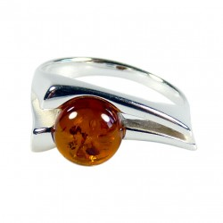 Silver ring and pearl Amber natural cognac