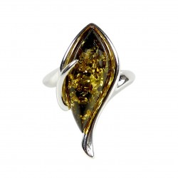 925/1000 Green Amber and Silver Ring