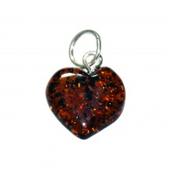 Small heart of amber color cognac