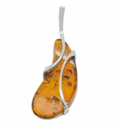 Silver and amber pendant in cognac color