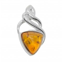 Celtic Cognac and Silver Amber Pendant