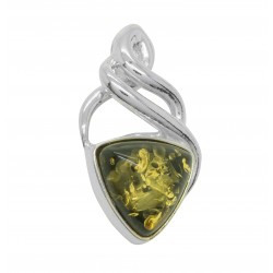 Celtic Green and Silver Amber Pendant