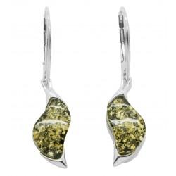 Ohrring Grün Gelb und Silber - Zickzack-Form