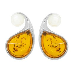 Amber Cognac and cultured pearl earring on Silver
