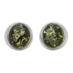 Ohrring natürliche grüne Bernstein und Silber 925/1000
