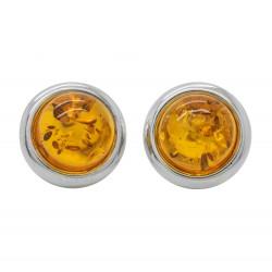 Boucle d'oreille Argent et ambre cognac