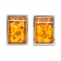 Silver and amber cognac rectangular earring