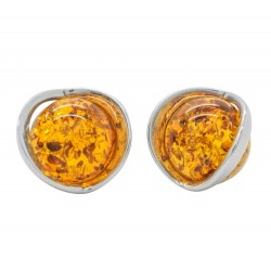 Earring Silver and Amber natural cognac - half sphere