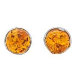 Silber-Ohrring und natürliche Cognac Bernstein