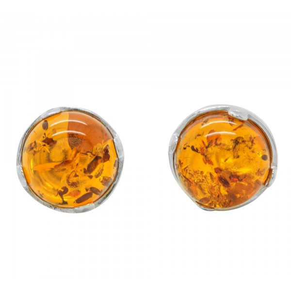 Boucle d'oreille Argent et Ambre naturel couleur cognac