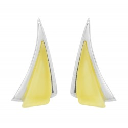 Earring in white amber and silver triangle shape