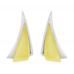 Pendiente ámbar blanco y en forma de triángulo de plata