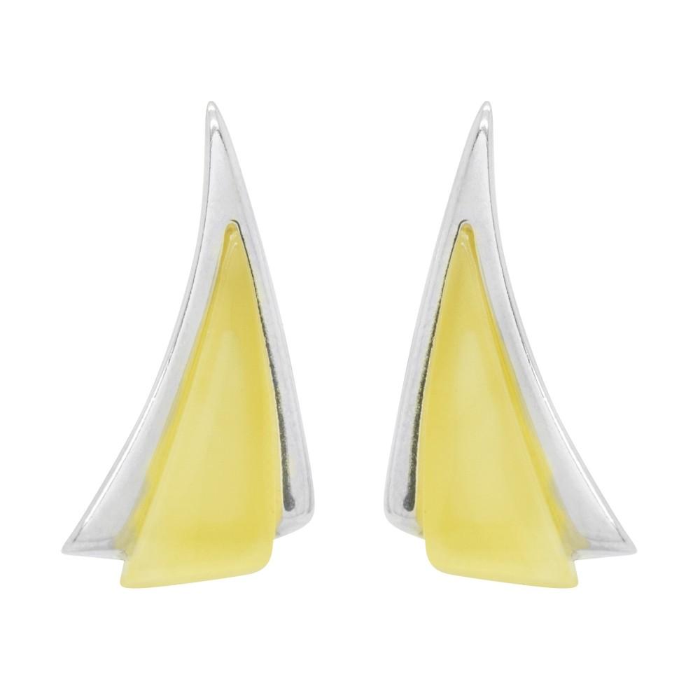 boucle d 39 oreille en ambre blanc et argent forme triangle bijoux d 39 ambre. Black Bedroom Furniture Sets. Home Design Ideas