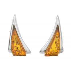 Boucle d'oreille en Ambre cognac et Argent forme triangle