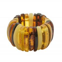 Bague d'ambre multicolore forme demi-lune