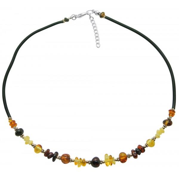 Collier d'ambre naturel multicolore