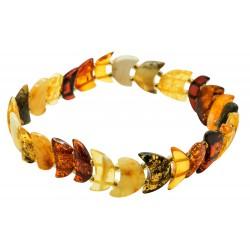 Bracelet d'ambre naturel multicolore demi-lune