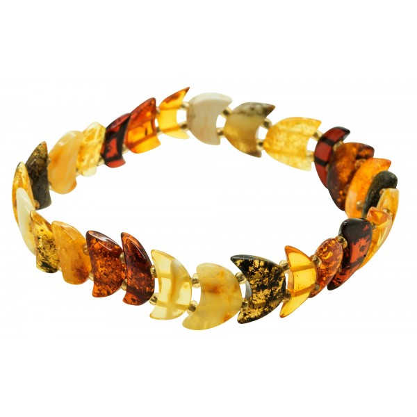 Bracelet d'ambre naturel multicolore demi-lune
