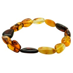 Amber bracelet multicolored natural shape