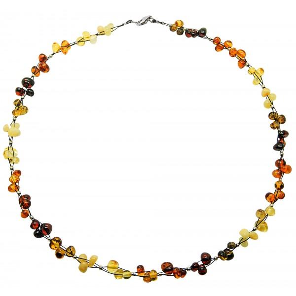 Collier avec trio de perle d'ambre multicouleur