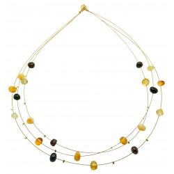 Multicolored pearl amber necklace