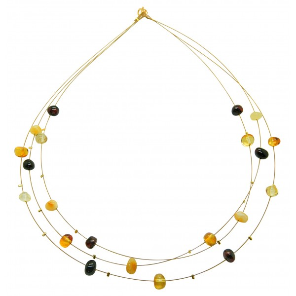 Collier d'ambre perle multicolore