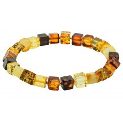Bracelet ambre multicolore forme carré