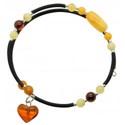 Bracelet Accordeon 2 tours en ambre multicouleur