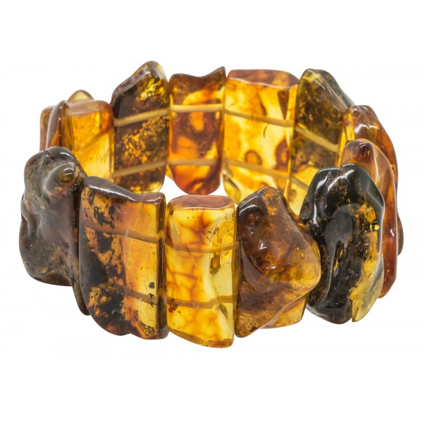 Bracelet en ambre naturel multicolore